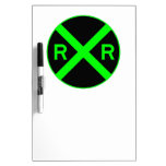 Neon Green & Black Railroad Crossing Sign Dry-Erase Whiteboard
