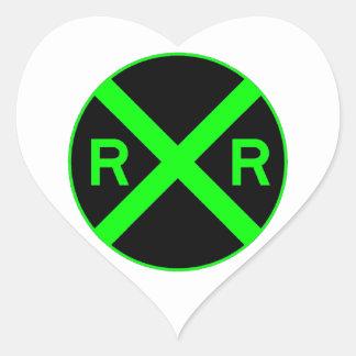 Neon Green & Black Railroad Crossing Sign Heart Sticker