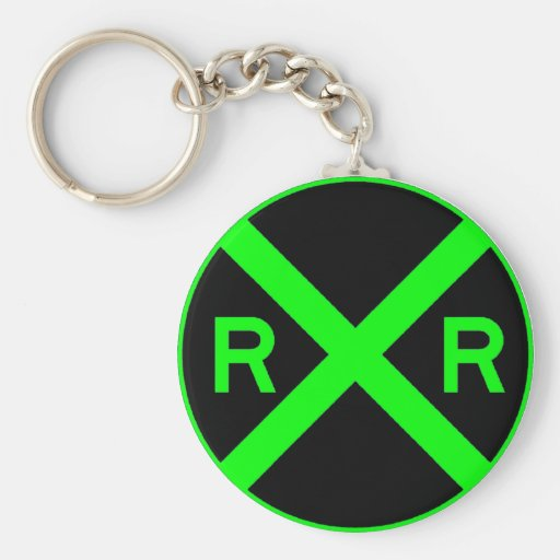 Neon Green & Black Railroad Crossing Sign Keychains