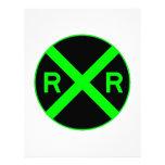 Neon Green & Black Railroad Crossing Sign Custom Letterhead