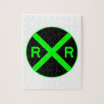 Neon Green & Black Railroad Crossing Sign Jigsaw Puzzles