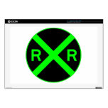 Neon Green & Black Railroad Crossing Sign Laptop Skins