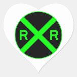 Neon Green & Black Railroad Crossing Sign Sticker