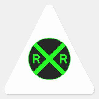 Neon Green & Black Railroad Crossing Sign Triangle Sticker
