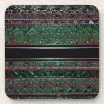 Neon Green & Black Stripes Drink Coaster