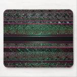 Neon Green & Black Stripes Psychedelic Mousepad