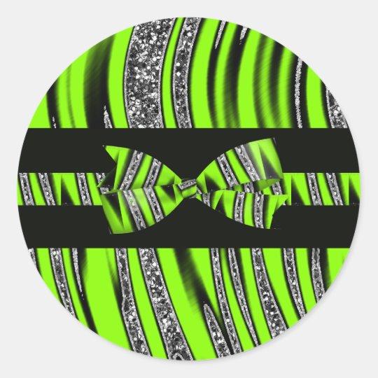 Neon Green & Black Zebra Glitter Stripes Classic Round Sticker