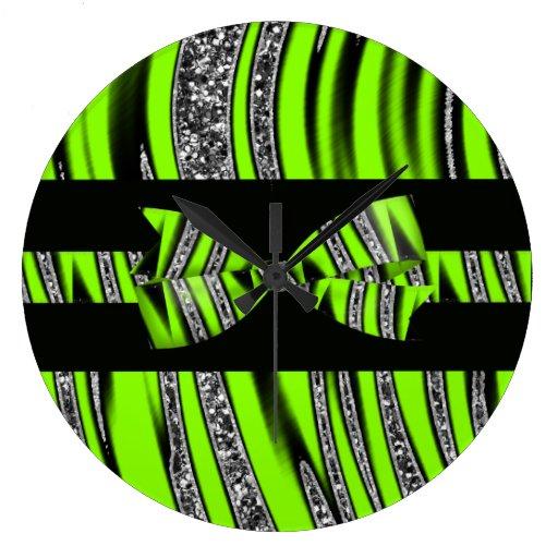 Neon Green & Black Zebra Glitter Stripes Large Clock