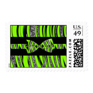 Neon Green & Black Zebra Glitter Stripes Postage