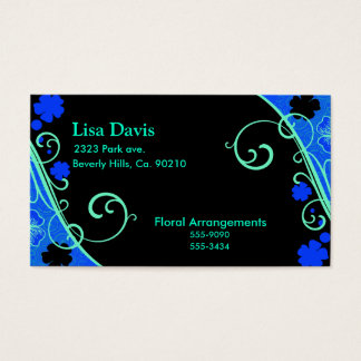 Neon Green Blue Floral Business Card