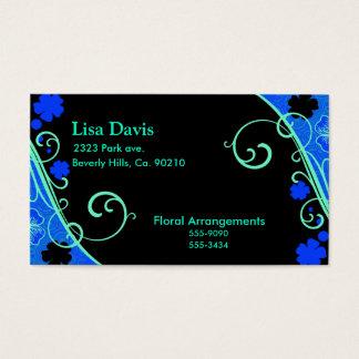 Neon Green Blue Floral Set Business Card