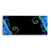 Neon Green Blue Floral Set Envelope