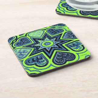 'Neon Green & Blue Love' Coasters