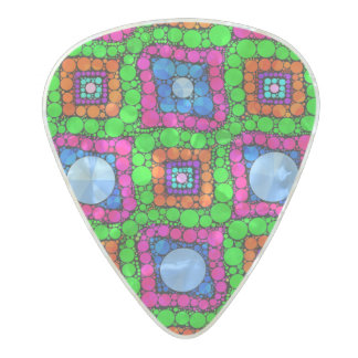Neon Green Blue Orange Abstract Pearl Celluloid Guitar Pick
