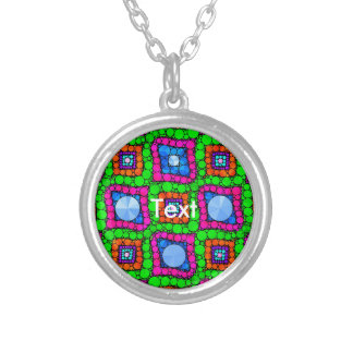 Neon Green Blue Orange Abstract Round Pendant Necklace