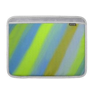 Neon green blue stripes pattern MacBook sleeve
