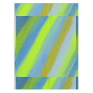 Neon Green Blue Stripes Pattern Tablecloth