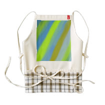 Neon green blue stripes pattern zazzle HEART apron