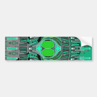 Neon green blue superfly design car bumper sticker