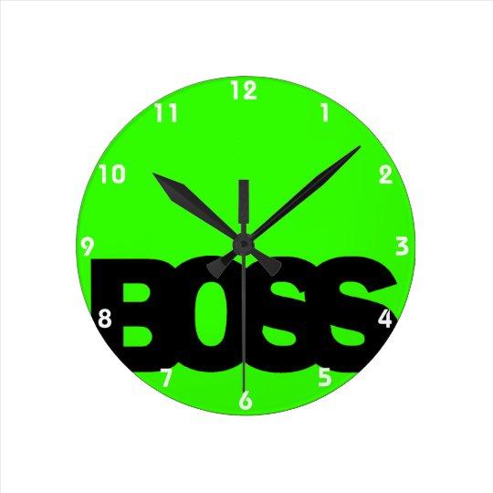 Neon Green BOSS Round Clock