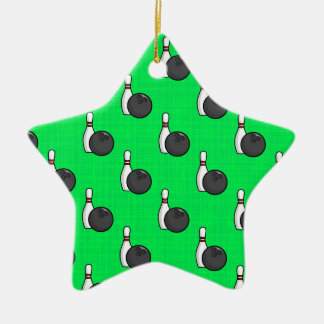 Neon Green Bowling Ball Pattern Christmas Ornament