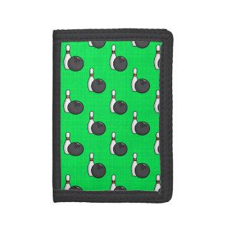 Neon Green Bowling Ball Pattern Tri-fold Wallet
