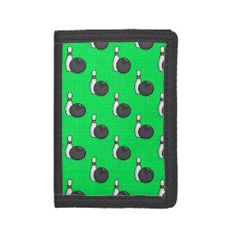 Neon Green Bowling Ball Pattern Trifold Wallets