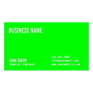 Neon Green Chemical Engineer Business Card