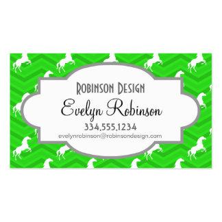 Neon Green Chevron, White Horse Pattern Business Card Template
