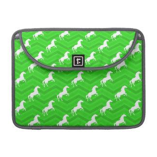 Neon Green Chevron, White Horse Pattern MacBook Pro Sleeves