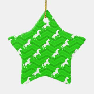 Neon Green Chevron, White Horse Pattern Christmas Tree Ornament