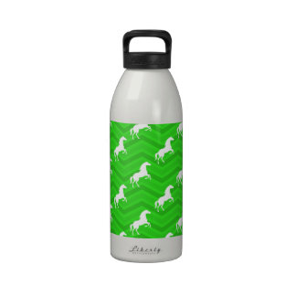 Neon Green Chevron, White Horse Pattern Water Bottles