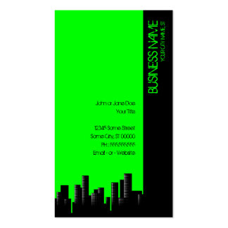 neon green cityscape business card