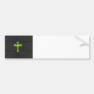 Neon Green Cross Black Vintage Leather Image Print Bumper Sticker