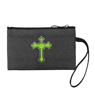 Neon Green Cross Black Vintage Leather Image Print Coin Purse