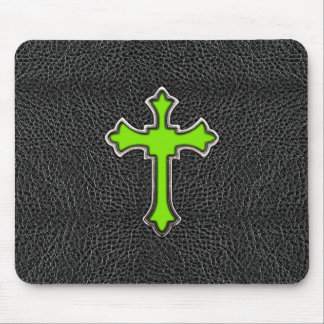 Neon Green Cross Black Vintage Leather Image Print Mouse Pad