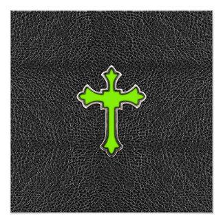 Neon Green Cross Black Vintage Leather Image Print Photographic Print