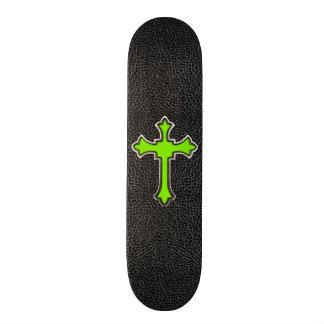 Neon Green Cross Black Vintage Leather Image Print Skateboard Deck