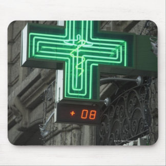 Neon Green cross outside Farmacia (Drug store or Mouse Pad