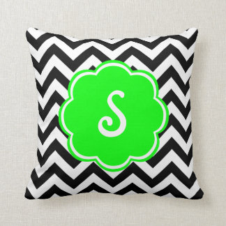 Neon Green Custom Monogram with Chevron Pattern Pillows
