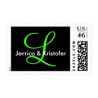 Neon Green Customizable Initials Invite Stamp