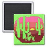 Neon Green Desert Skulls Cacti Sunset 2 Inch Square Magnet