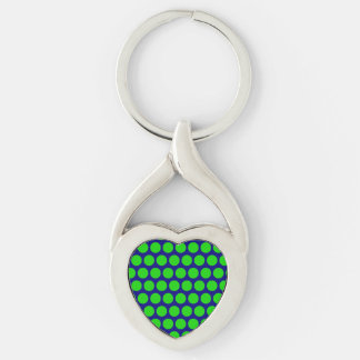 Neon Green Dots On Blue Heart Keychain