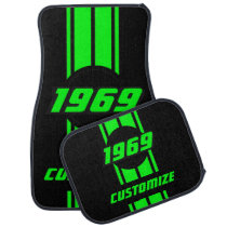 Neon Green Double Race Stripes Car Mat