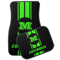 Neon Green Double Race Stripes - Monogram Car Floor Mat