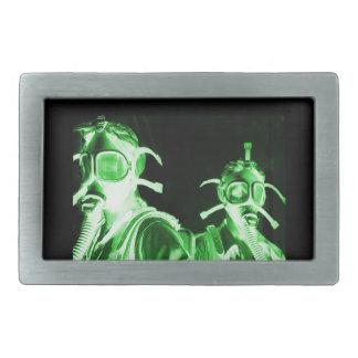 Neon Green Factory Gas Masks Rectangular Belt Buckles