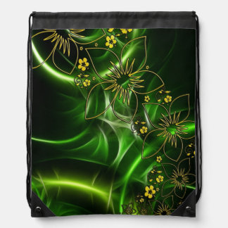 Neon Green Floral Fractal Drawstring Bag
