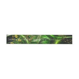 Neon Green Floral Fractal Wraparound Address Label