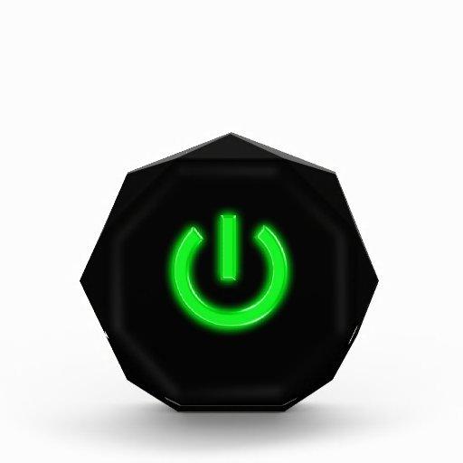 Neon Green Flourescent Power Button Acrylic Award