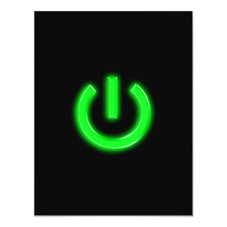 Neon Green Flourescent Power Button Card